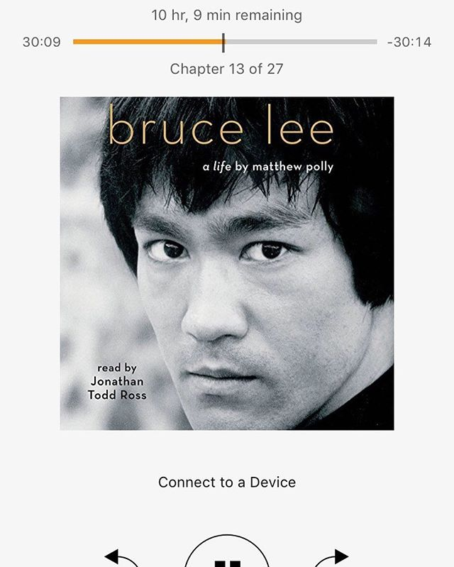 """People ask me """"what you do when your not writing or performing?"""" Here is on of my favorite things! Reading 🙂 and when I can't read I listen to people and how they live or lived. #read #reading #saturday #brucelee #bruceleealife #matthewpolly #audible"""