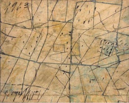 Georges Noël,  Assemblage palimpseste , 1963, 81 x 101 cm, mixed media on canvas