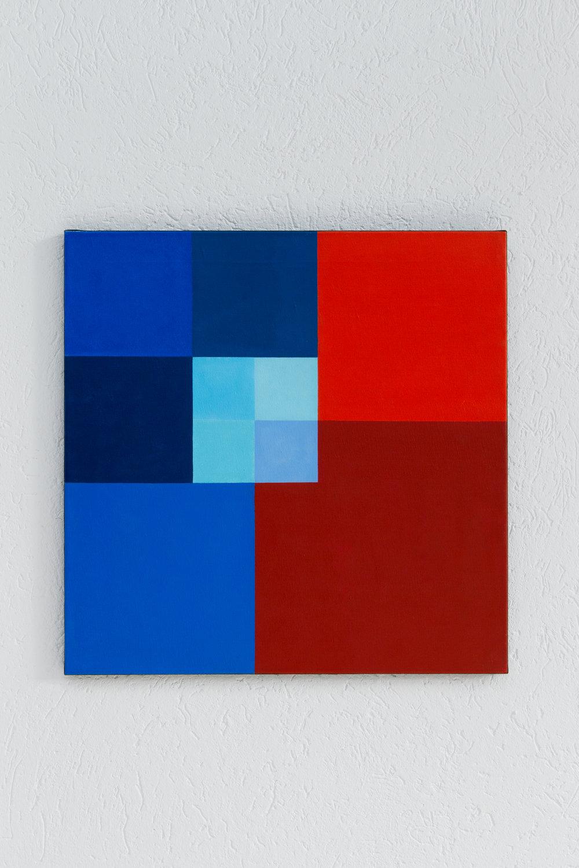 Hedi Mertens,  Ohne Titel , 1973, oil on canvas, 66 x 66 cm