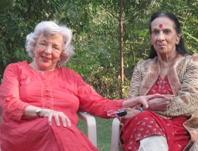 Here I am with Mrinalini in her glorious garden