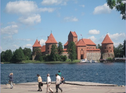 Castle in a lake in Lithuania