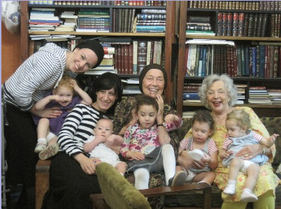 In Tiberias with Peter's former wife Batia, nearly 90, grand-daughters Neomi and Bayle and their children