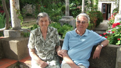 Vjera and Ivo in their garden