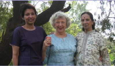 Mallika, me and Mrinalini in the lovely garden