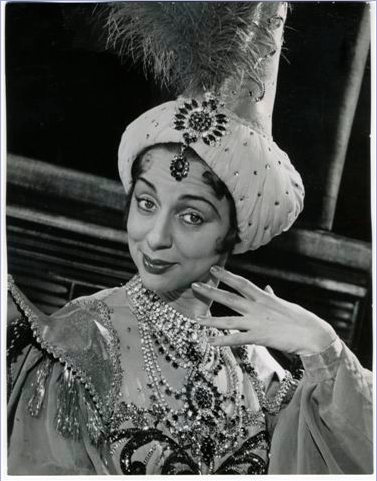 As the Empress of Morocco in the Pantomime TURN AGAIN WHITTINGTON at the Palladium, with Norman Wisdom and Yana.