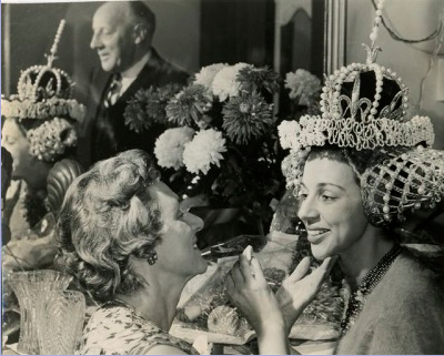 As the Queen in THE SLEEPING BEAUTY Pantomime at the Palladium.  With Charlie Drake and Bruce Forsyth.  Mother helps me with my make-up in the Dressing Room, Dad can be seen through the mirror.