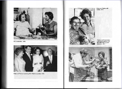 Top Left: With Golda Meir in her home, before I performed her in both GOLDA and MOMMA GOLDA.  Top Right: With my Peter and our darling dog Candy.  Bottom Left: With Mom and Dad at our wedding.  Bottom Right: Peter feeds Candy with chopsticks when we did our TV Cookery programme.