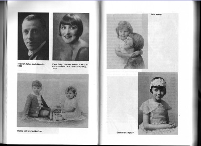 Top Left; Dad, Louis Ely Wigoder and Mom, Paula Ruby in THIS YEAR OF GRACE, 1928.  Top Right: Me with Mom.  Bottom Left: My brother Geoffrey and me.  Bottom Right: Me in yellow as Eileen Jackson's bridesmaid.
