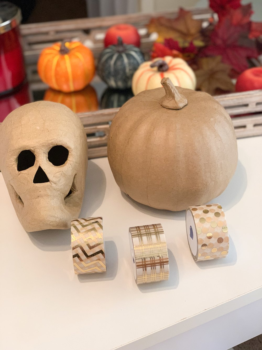 WASHI TAPE SKULL AND PUMPKIN:    1 Paper Skull and Pumpkin    Washi Tape