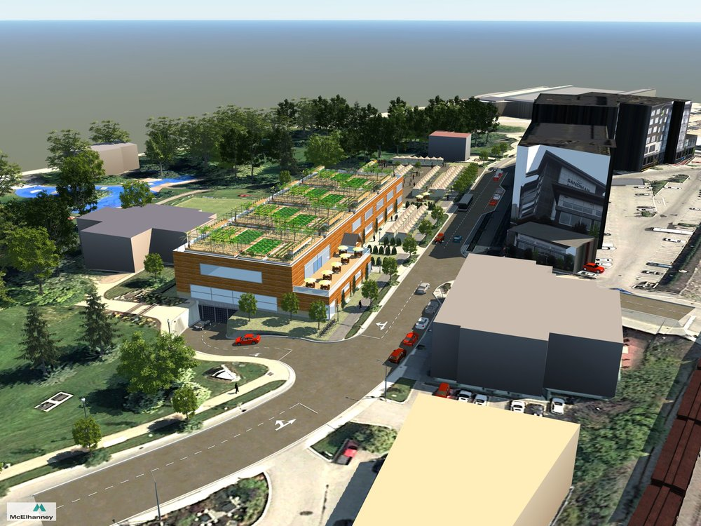 AERIAL VIEW OF PROPOSED BUILDING    Concept drawing illustrating proposed building size, underground parking access and rooftop garden space.  Credit: Robert Howell, AScT, McElhanney