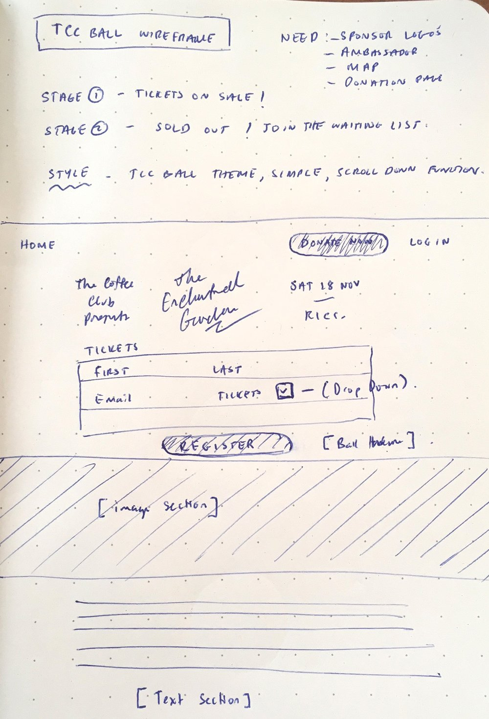 Wireframe Design - Here's one of my first sketches of the wireframe from our first meeting.