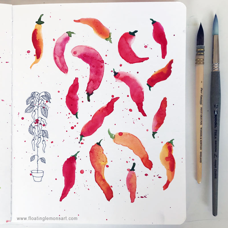 10 August 2018  Hot & Spicy Chilli Pepper Sketches