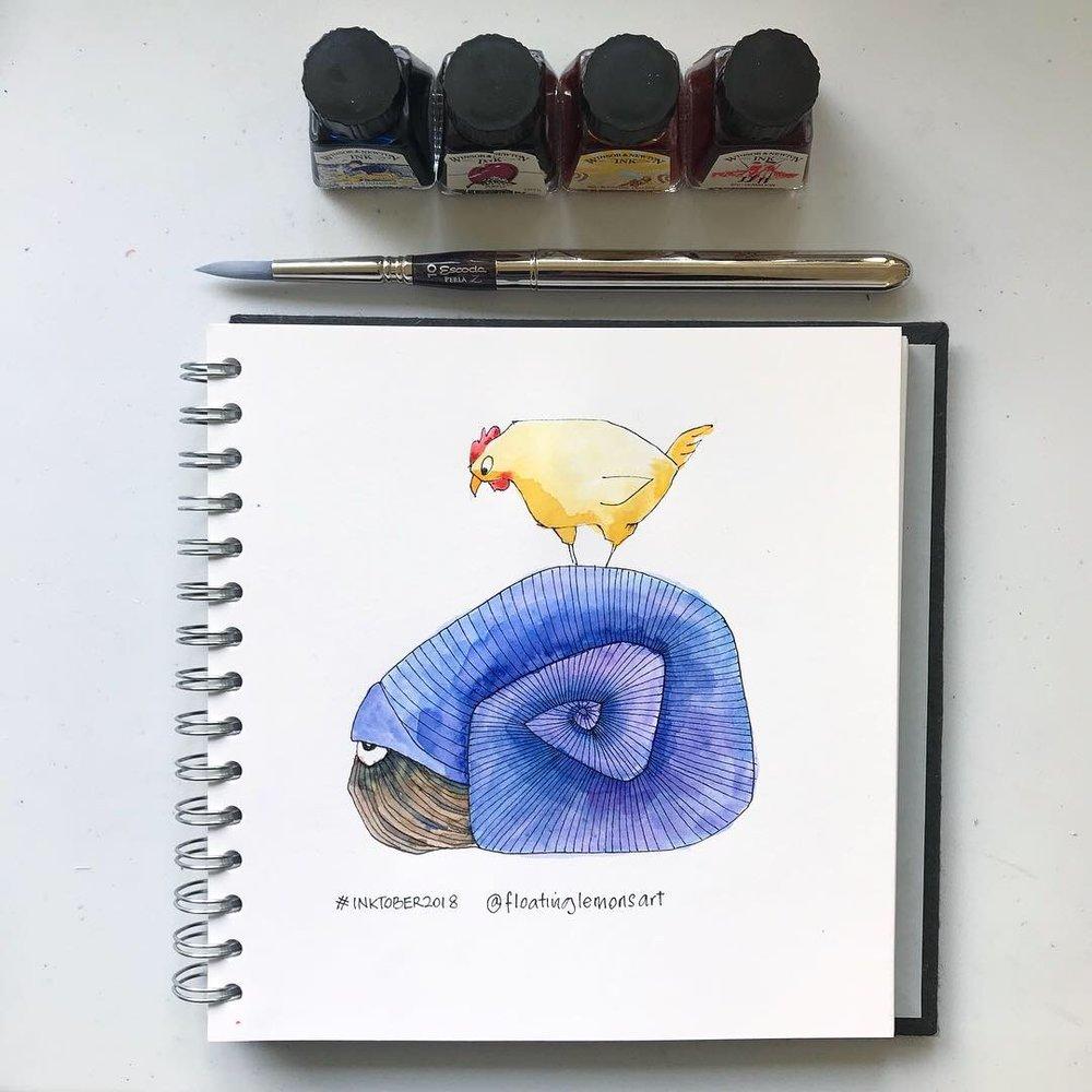 Inktober day 5: Nautilus & Chicken