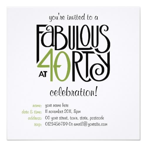 Fabulous at 40 green Invitation by FloatingLemonsArt