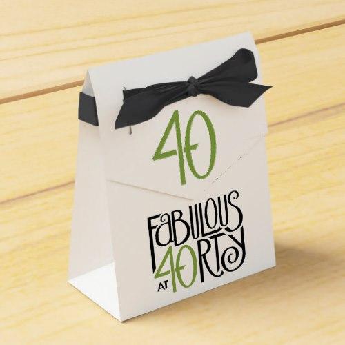 Fabulous at 40 green Tent Favor Box by FloatingLemonsArt