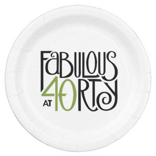 Fabulous at 40 green Paper Plates by FloatingLemonsArt