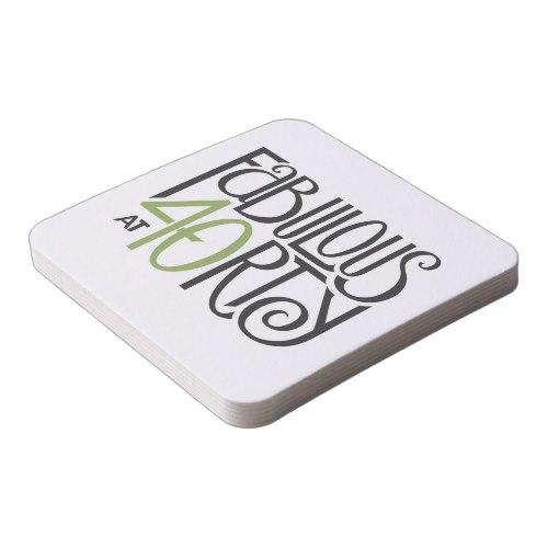 Fabulous at 40 green Coasters by FloatingLemonsArt