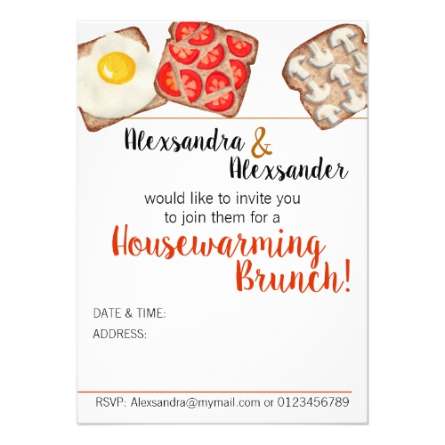 Breakfast Toast Brunch Invitations:  USA  and  UK
