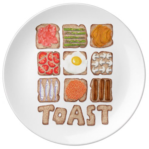 Breakfast Toast Porcelain Plates:  USA  and  UK
