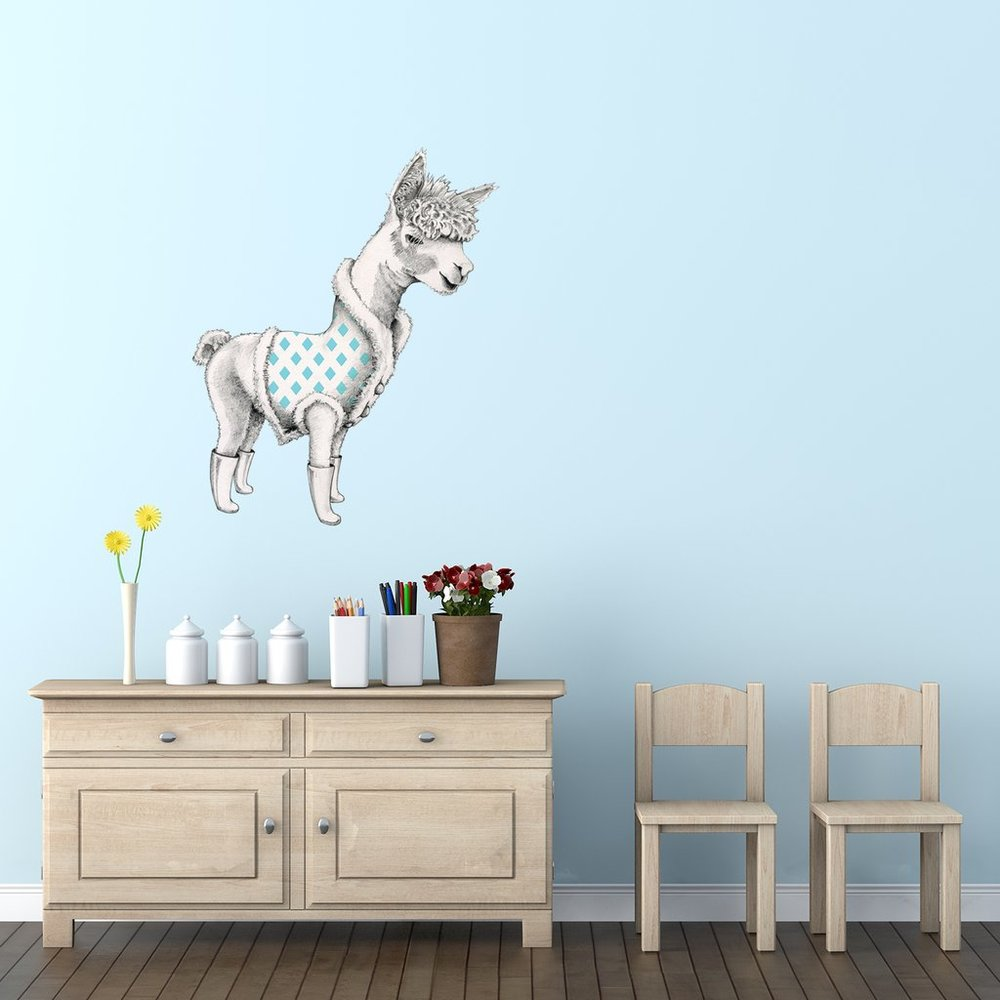 Alpaca interior decor art sticker decal by Floating Lemons Art