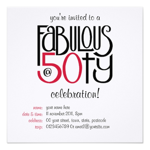 Fabulous at 50 red invitation Card by Floating Lemons for Zazzle  USA  and  UK