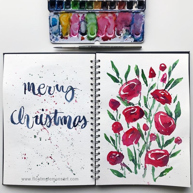 Festive Christmas Flower Doodles 1 : Floating Lemons Art