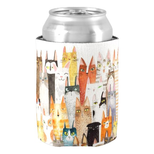 Cats Pattern Bottle Cooler by  My Art Mart  for Zazzle  USA  and  UK