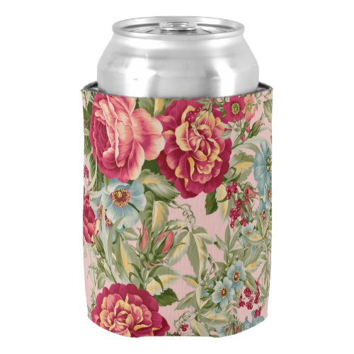 Vintage Botanical Floral Wallpaper Can Cooler by  Keiko Prints  for Zazzle  USA  and  UK