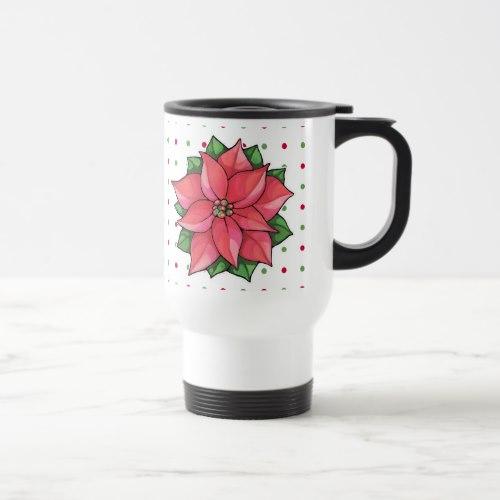 Poinsettia Joy dots Travel Mug by  Floating Lemons  for Zazzle  USA  and  UK