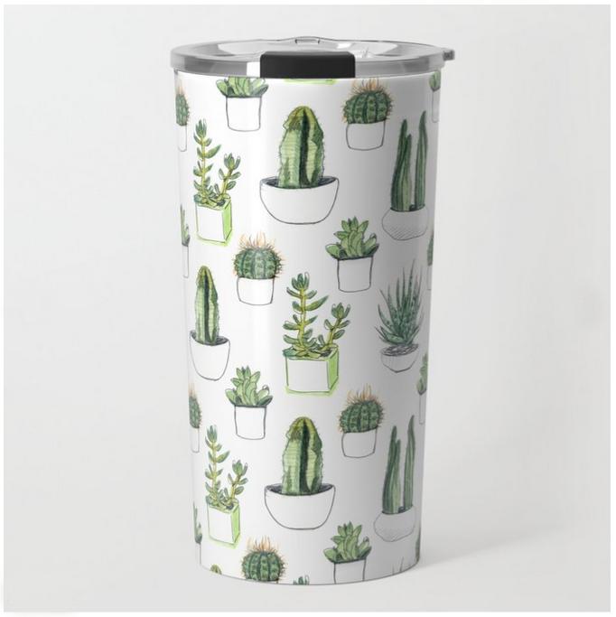 Watercolour Cacti & Succulents Travel Mug  by  Vicky Webb AKA Crumpetsandcrabsticks  for Society6