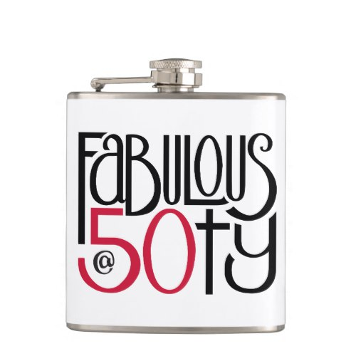 Fabulous at 50 red Flask by Floating Lemons for Zazzle  USA  and  UK