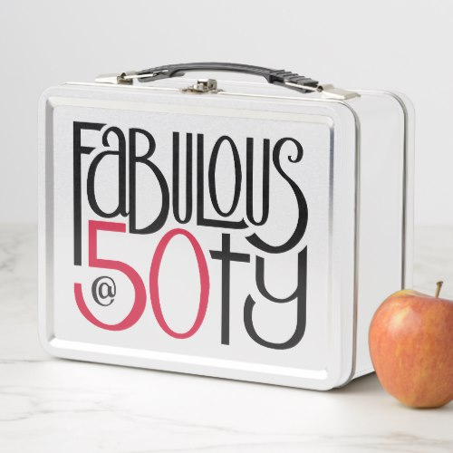 Fabulous at 50 red Metal Lunchbox by Floating Lemons for Zazzle  USA  and  UK
