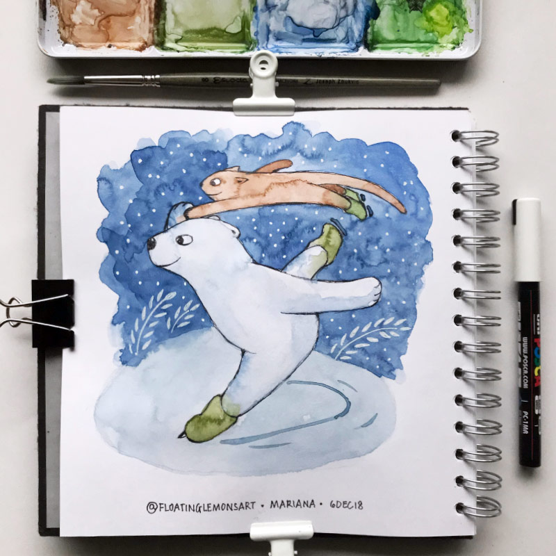 Turn & Ice-skating by Mariana : Floating Lemons Art