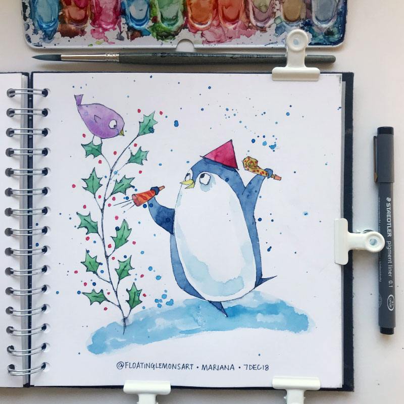Rambunctious Penguin by Mariana : Floating Lemons Art