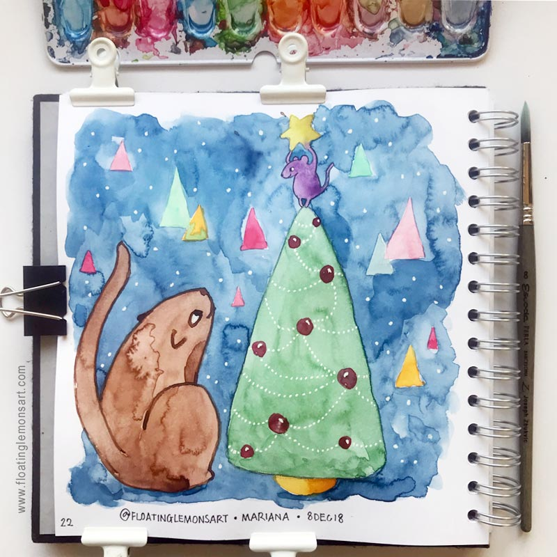 Caturday & Christmas Tree by Mariana : Floating Lemons Art