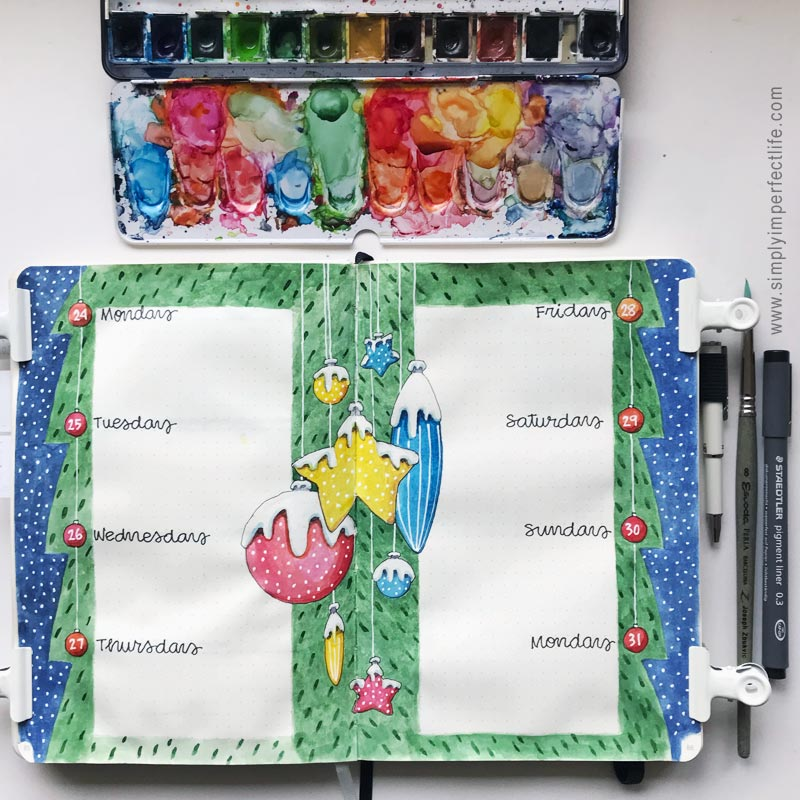 Christmas Ornaments version 2 (bullet journal) by Mariana : Floating Lemons Art