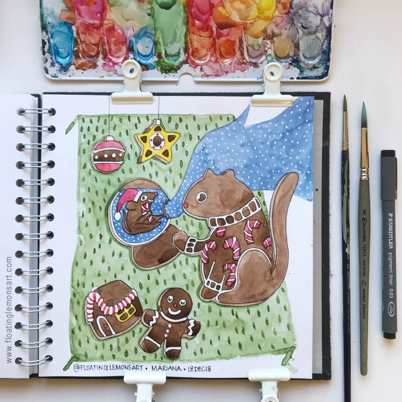 Gingerbread House, Caturday, Holiday Sweater, Snow Globe, and Holiday Cookies, by Mariana : Floating Lemons Art