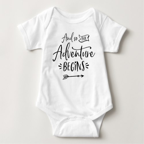 And So The Adventure Begins Hand Lettered Custom Baby Bodysuit by Keiko Prints on Zazzle  USA  and  UK