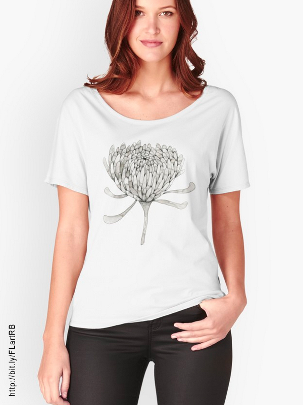 Ink Chrysanthemum Women's Relaxed Fit T-Shirts by Floating Lemons Art for Red Bubble