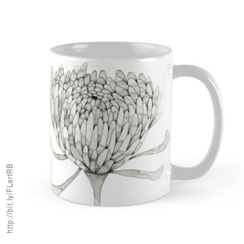 Ink Chrysanthemum Mugs by Floating Lemons Art for Red Bubble