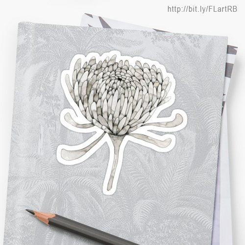 Ink Chrysanthemum Stickers by Floating Lemons Art for Red Bubble