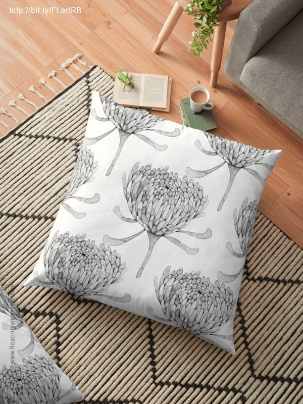 Ink Chrysanthemum Floor Pillows by Floating Lemons Art for Red Bubble