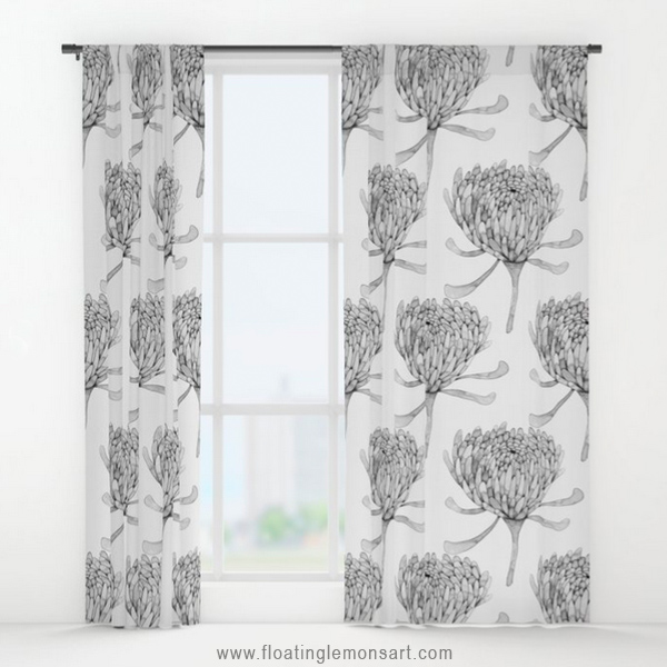 Ink Chrysanthemum Window Curtains by Floating Lemons Art for Society6