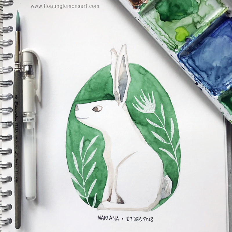 White Rabbit by Mariana : Floating Lemons Art