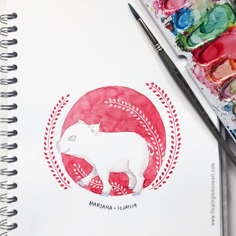 Piglet in Circle (perfect for this Chinese New Year 2019!) by Mariana :  Floating Lemons Art