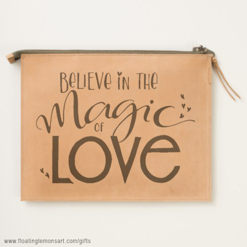 Magic of Love Leather Travel Pouch: Floating Lemons Art