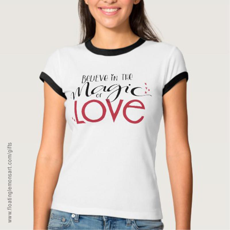 Magic of Love Ringer T-Shirt: Floating Lemons Art -  USA  and  UK