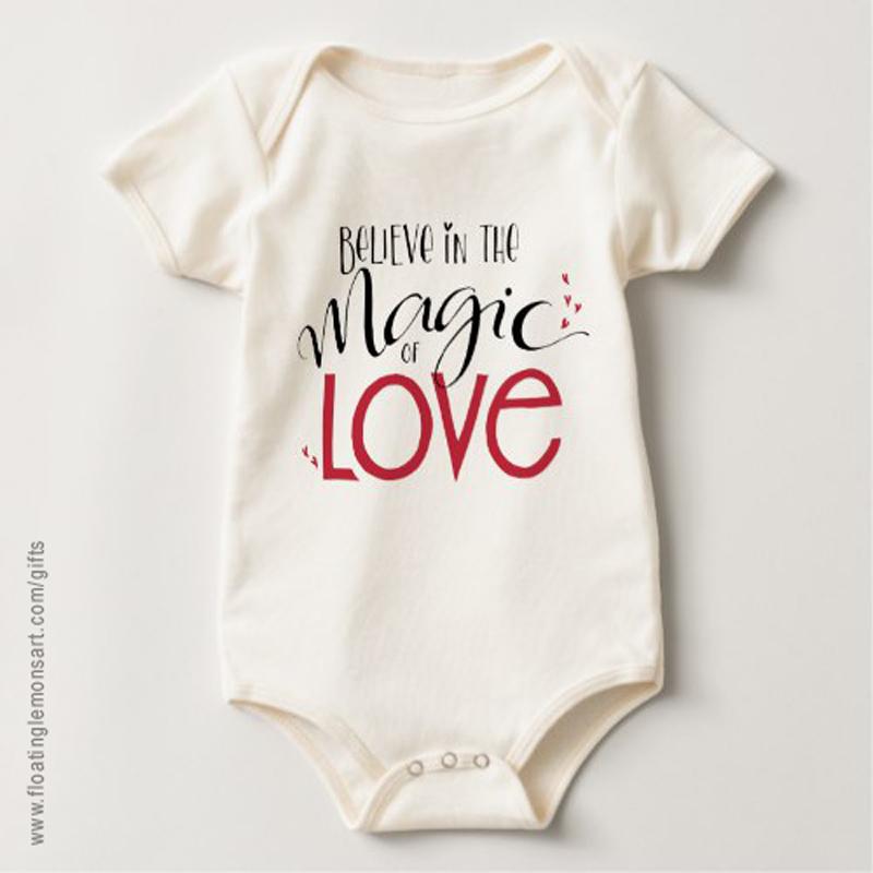 Magic of Love Organic Baby Bodysuit: Floating Lemons Art -  USA  and  UK