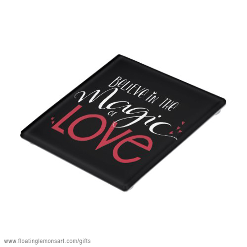 Magic of Love white on black Glass Coaster: Floating Lemons Art -  USA  and  UK