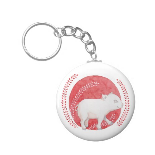 Circle Pig Button Keychain by Floating Lemons Art:  USA  and  UK